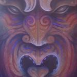 Pukana -Ta Moko, Maori Tattoo, Whakairo, Maori Carvings, Paintings, Maori art in Waitomo New Zealand